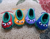Ninja Turtle-inspired Crocheted Baby Booties in your choice of four colors