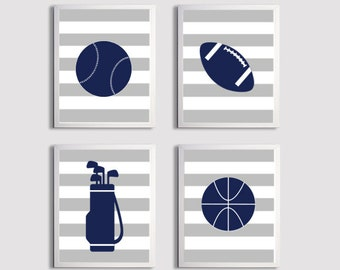 Nursery Sports Football Basketball Golf Art Stripes Boy Girl Gray Navy Kids Room customizable set of 4 wall art prints