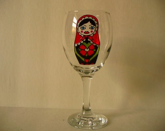 Hand painted wine glass: Matriochka design