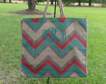 Personalized LARGE CHEVRON Jute Tote Bag-Aqua,Turquoise, and Gray  Beach Bag