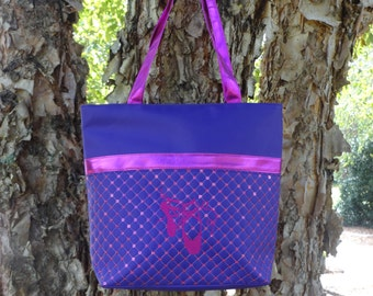 Personalized Tote Bag- PURPLE with Fuchsia Trim  Dance Bag  Ballet Bag