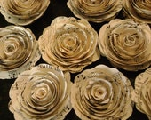 Set of 12  2 inch vintage sheet music hymnal pages spiral rolled paper roses stemless flowers for wedding bouquets and decorations