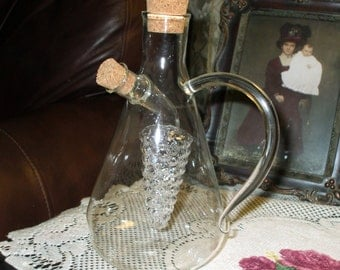 Oil And Vinegar Cruet Decanter Pitcher Hand Blown Glass Grape Design Corks Unusual Vintage