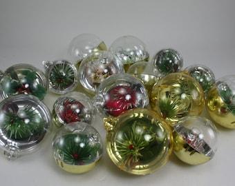 Vintage Plastic Christmas Ornaments Diorama 16 Ornaments