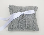 Wedding Ring Bearer Pillow Gray Cable Knit Sweater