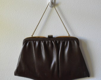 Vintage Handbag 1960s Purse Dark Brown Leather Bag With Frame and Chain 2 Part Interior with Fold Over Lock Gold Hardware Nice Condition