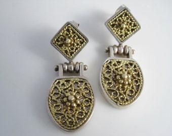 Vintage Turkish Byzantine Style Earrings - Anatoli - Gold Washed Sterling Silver - Dangle Earrings for Pierced Ears