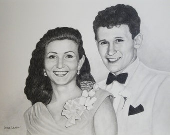 Pencil portrait drawing from old photograph