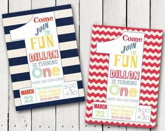 1st Birthday Boy Party Invitation 3 designs