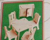 Dollhouse furniture kit Miniature wood furniture no tools assembly NEW YDI DIY card table chairs kitchen cabinet