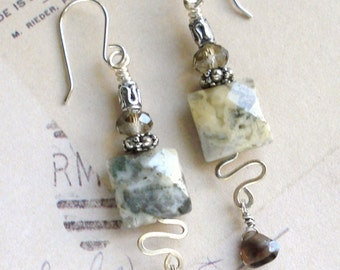 Smoky Quartz & Sterling Silver Filled Wire Earrings