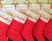 Embroidered and Customized Red Striped Christmas Stocking With Your Choice of Font