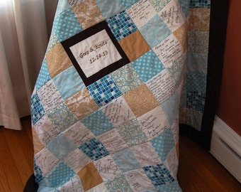Custom Made Signature Quilt, Throw Size, Your Choice of Fabrics