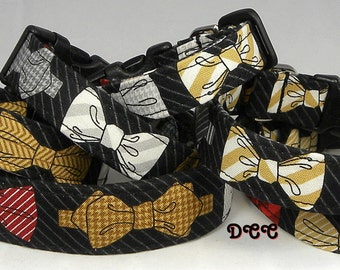Dog Collar Bow Ties on my Dog Collar Red Brown Black White Houndstooth Pin Strip FUN Adjustable Collar and D Ring.FUN Choose Size