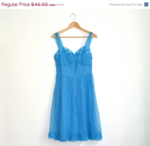 ON SALE 50% OFF Vintage Nightgown by Gotham Gold Stripe// Blue Vintage Night gown Cami Dress