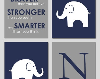 Elephant Nursery Art, Navy and Grey Nursery, You Are Braver Than You Believe, Baby Boy Nursery, Navy Nursery Decor, Boy Nursery Wall Art