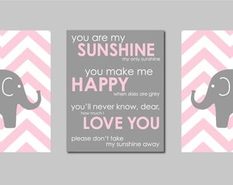 """Pink and Grey Modern Nursery Prints  - Elephant Chevron Silhouettes and You are my Sunshine- Art for Nursery - Set of three 8""""x10"""" prints"""