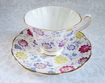 Vintage Chintz Tea Cup and Saucer Set  /  Teacup and Saucer Pink Floral Chintz   /   Cups & Saucers Easter Gifts For Her