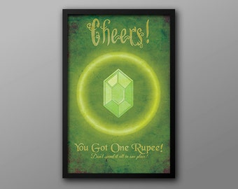 Green Rupee, Vintage Funny Gamer Achievement Poster // Glowing Green, Zelda and Nintendo Inspired, Currency Artwork