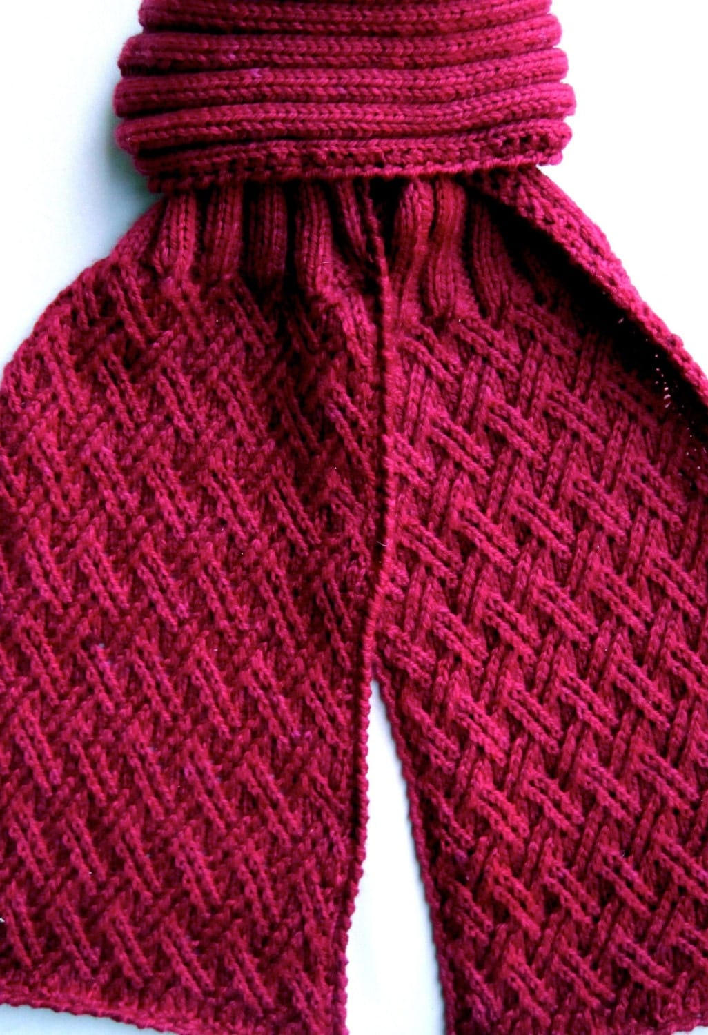 Knitting Pattern Twisted Scarf : Knit Scarf Pattern: Twisted Criss Cross Turtleneck Scarf