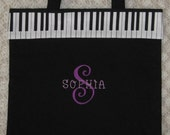 Child's Personalized piano music lesson book bag birthday recital kids gift idea back to school black canvas tote embroidered in purple