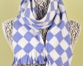SCARF WITH FRINGE- Blue and White Harlequin- polar fleece winter scarf