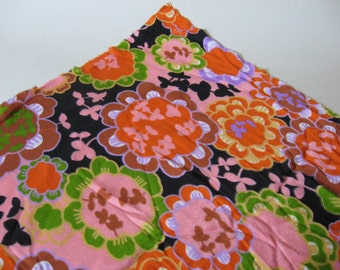 Silky floral lightweight nylon vintage poly knit mod floral pink purple orange green black