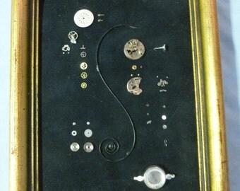 Framed 1960's Ladies' Watch Parts Collage - 43 Individual Parts in 8 X 6 Frame - Vintage - N