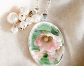 Gorgeous flower pendant necklace beaded with pearl beads, Holly hock pale pink flower pendant