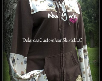 SALE Adorable Chocolate Brown bohemian hippie upcycled zip up hoodie hooded sweatshirt sweater Size M