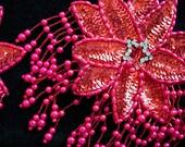 Pair of Red and Pink Pearl Bead Sequin Rhinestone Flower Epaulet Pasties