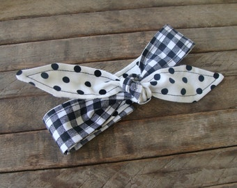 Reversible Headband White Polka Dots over Black Gingham Girls Teen Women Hair Accessory Headscarf Hairband with or without elastic
