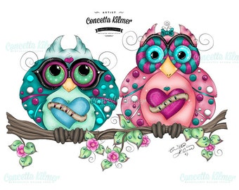 Owl Art - Spring Decor - Owl Print - Owl Painting - Retro Art - Owl Decor - Ready to Hang - Art Print - Spring Art - Owls - Prints