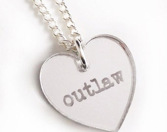 Outlaw Necklace - Silver Heart