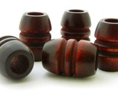 Vintage Wood Beads - grooved barrel - dark mahogany brown - 4 pieces