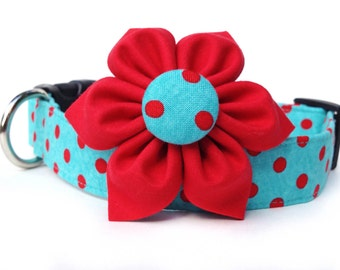 Dog Collar and Flower / Red & Aqua Polka Dot / red aqua polka dot dog collar with flower
