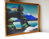 1950s Vintage Hand Painted Asian Landscape Fuji Cottage Water on Silk