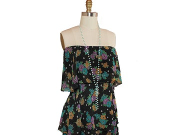 70s does 20's  Amazing 4 Tier Chiffon Flirty Flapper Dress size M