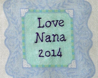 Quilt Label - Small Purple Frame, Custom Made & Hand Embroidered