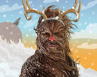 Star Wars Christmas Card Chewbacca the Red Nosed Reindeer