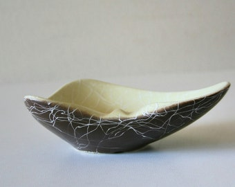 Vintage Modern Spaghetti String Ceramic Bowl,Ashtray,Cream Chocolate,Lung Shaped