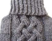 Dog Sweater handknitted in dark grey for EX-small FEMALE dog.Aran dog sweater.Turtleneck sweater for dog.