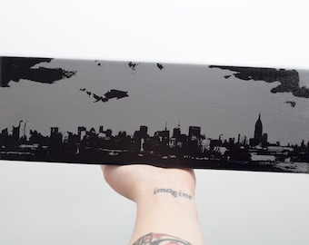 New York City Skyline Canvas (12 x 4 inches, Gray with Black) Screenprint/Painting NYC Home Decor