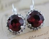 Burgundy Bridesmaid Gift Set of 3 Pairs Bridal Party Jewelry Burgundy Earrings Burgundy Wedding Octagon Maroon Swarovski Clip On Avail