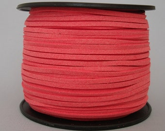Faux Suede  Cord Lace Leather Cord Flat  Salmon 3x1.5mm-20ft