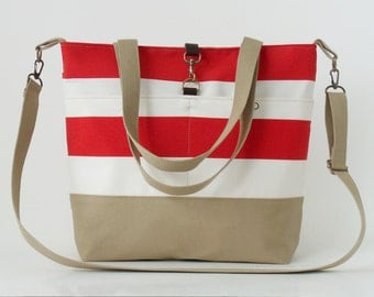 Red Stripe Canvas Tote / Shoulder Bag / school bag / Diaper bag, with detachable strap.  Design by BagyBags