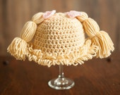 cabbage patch hat for baby crochet beanie with bows