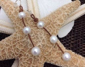 TRIPLE TEAR DROP Leather & White Pearls Earrings