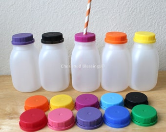 Farm Party Milk Bottles, Kids Party Plastic Milk Containers With Colored Lids With or Without Straw Holes Plastic Kids Party Cup Baby Shower
