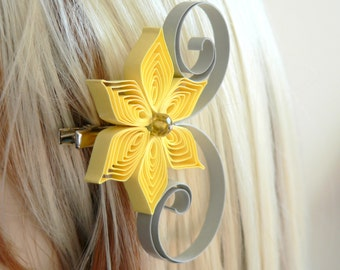 Yellow and Gray Wedding Hair Accessory, Bridesmaid Gift, Yellow Wedding, Gray Wedding